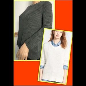 MADEWELL LINEN SHAKER CHUNKY KNIT PULLOVER SWEATER